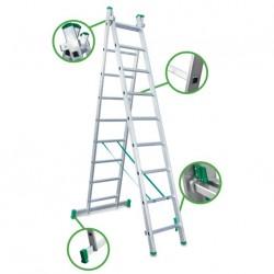 Escalera Transformable Escalibur 9+9 peldaños Aluminio