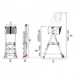 Escalera con Plataforma Faraone PLS 5 peldaños aluminio 7